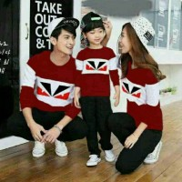 Baju Family Couple | Kaos Pasangan Keluarga Fendi Maroon 11142