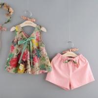 Setelan Blus Tanpa Lengan Motif Print Bunga + Celana Pendek untuk