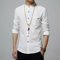 Baju Koko Pria Cowok Zian OT White Putih XL Katun Strech