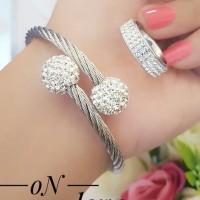 titanium gelang cincin lapis emas putih 24k 1560