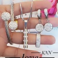 titanium set perhiasan kalung gelang cincin lapis emas putih 24k 1558