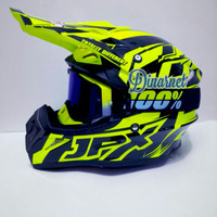 Helm Cross Jpx X12 Yellow Kacamata Goggle Free Lensa Bening