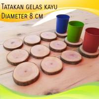 TERMURAH..Tatakan gelas kayu alami natural wood coasters diameter 8 cm