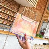 Promo Glossy Tas Import Hand Bag Glossy Colorfull Transparan