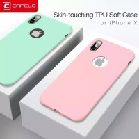 CAFELE SOFT SILICONE LIGHT COLOR CASE FOR IPHONE X FREE TEMPERED GLASS - Hijau muda