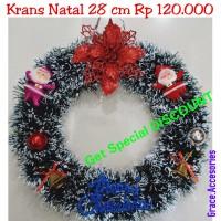 Hiasan krans wreath ring natal 28 cm murah