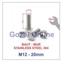Baut Mur M12 x20mm Stainless Steel 304 - Baut Stenlis SUS304