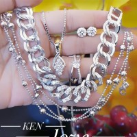xuping set perhiasan kalung gelang cincin lapis emas putih 24k 1758