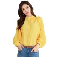 baju kemeja tangan panjang wanita gaya korea