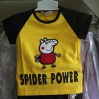 Baju anak laki import branded setelan peppa pig yellow fashion boy kid