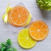 Souvenir Pernikahan - Tatakan Gelas/ Coaster Lemon Orange - EMR-47AB