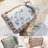 PARTY SLING BAG A4934 TAS PESTA RANTAI MOTIF BUNGA FLOWER MUTIARA BARU
