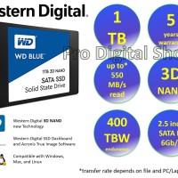 """SSD WD Blue 1TB - SATA 2.5"""" 7mm - 3D NAND SSD - Garansi 5 Tahun"""