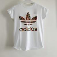 Kaos tshirt baju tumblr tee cewek wanita Addidas painting white