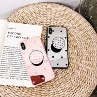 Casing Case Mirror Motif Hati untuk iPhone 8 7 6s 6 Plus X XS XR max