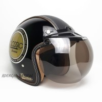 Helm Bogo Dewasa SNI - Semi Kulit Motif Classic Hitam Glossy - JP Smoke