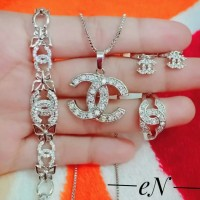 xuping set perhiasan kalung gelang cincin lapis emas putih 24k 1951