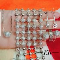 xuping set perhiasan kalung gelang cincin lapis emas putih 24k 1956
