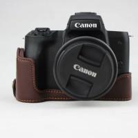 Half Case, Halfcase Leather Canon EOS M50 Warna Coffee