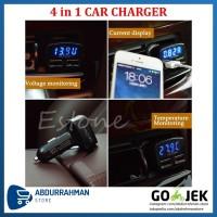 Car Charger LED 4 in 1 USB Casan Mobil Voltmeter, Ampere, Temperatur