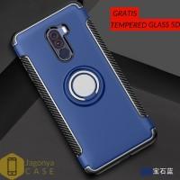 Case Xiaomi Pocophone F1 Ultimate Carbon Ring GRATIS TEMPERED GLASS 5D - Hitam