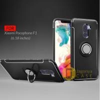 Case Xiaomi Pocophone F1 Ultimate Carbon Ring Kickstand - Hitam