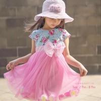 baju/Dress anak/gaun pesta anak/Bronsy/ Flower/Dress cantik/ Pink