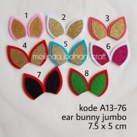 kode A13-76 ear bunny jumbo glitter. jual per 12 pasang