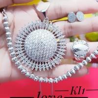 xuping set perhiasan kalung gelang cincin lapis emas putih 24k 0247