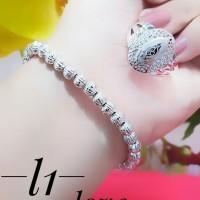 gelang plus cincin lapis emas putih 24k 0226