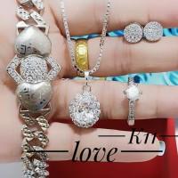 xuping set perhiasan kalung gelang cincin lapis emas putih 24k 0201