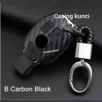 mercedes benz carbon case kunci sarung - Hitam