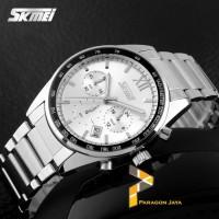 Jam Tangan Analog SKMEI Watch 9096 WHITE Stainless Strap like SEIKO