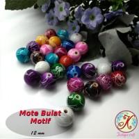 Mote Bulat Motif 12mm per 20 pcs mix (aplikasi bros, kalung, gelang)