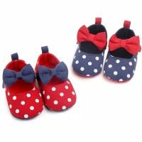 Sepatu bayi import prewalker polkadot pita anak perempuan