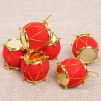 XDDR drum merah 4CM mini dekorasi ornamen pohon natal gantungan