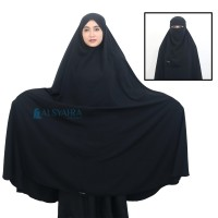 Jilbab Long Khimar Syari Al-Haramain Niqab Bandana Alsyahra Size XXL