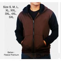 Jaket Jumbo Pria Hoodie Big Size Sweater S M L XL, XXL, XXXL, 4XL, 5XL - Maroon Hitam, M