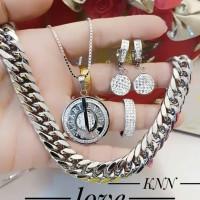 titanium set perhiasan kalung gelang cincin lapis emas putih 24k 2015