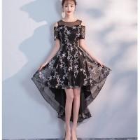 Gaun Pesta 1811048 Hitam Sabrina Lengan Siku Ekor Party Dress Gown