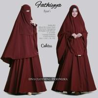 fathiya syari setelan gamis cadar niqab bandana busui polos jumbo XL
