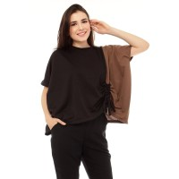Yoenik Apparel Oversize Two Tone Colour Black - Mocca M13961 R65S4