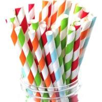 25pcs Sedotan Kertas Paper Straw Party Straw Sedotan Acara Motif Warna