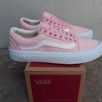 Sepatu Vans Old Skool Pink White Import BNIB Sneakers Wanita
