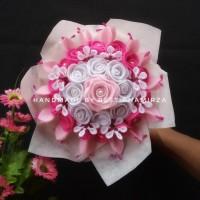 Buket bunga flanel murah kado ulang tahun wisuda pernikahan wedding