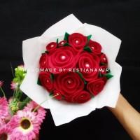 Buket bunga flanel murah kado ultah wisuda wedding