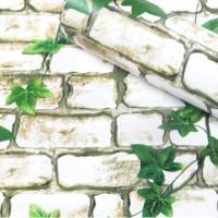 6030 Bata Putih Daun Wallpaper Dinding 10M x 45Cm