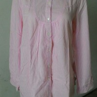 Blouse tunik kerah stripe salur garis pink Minimal Me import preloved