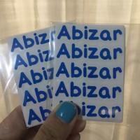 Sticker Nama Mini / Label Waterproof /Stiker Nama Tanpa Gambar Abizar