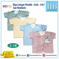 Baju Bayi Lengan Pendek MIYO Garis - 4in1 - Sleepsuit Atasan Newborn